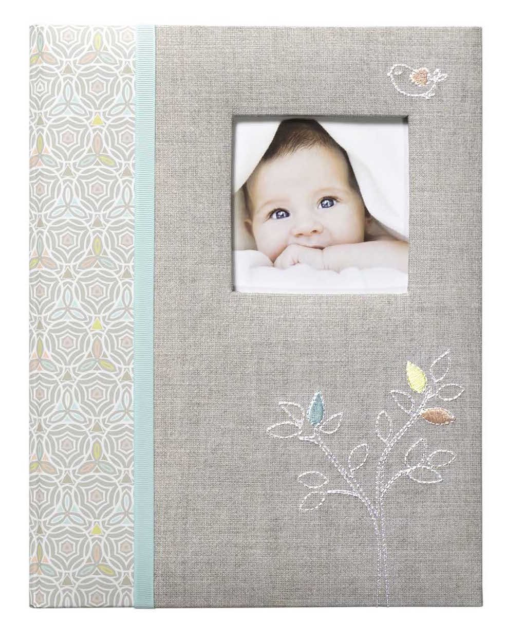 C.R. Gibson Grey 'Linen Tree' Bound First Five Years Memory Baby Book, 64pgs, 9'' W x 11'' H