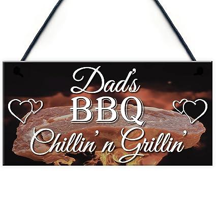 Rojo Ocean Chillin n Grillin Hanging Plaque Dad s barbacoa cobertizo jardín cocina