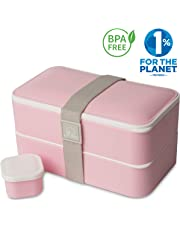 Umami® ⭐ Lunch Box Rose Kawaii | Boîte Bento Japonaise Premium avec 3 Couverts Solides Et 1 Pot À Sauce | 1200ml | Hermétique | Passe Au Micro-Ondes Et Au Lave-Vaisselle | sans BPA | Marque Déposée