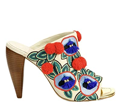 de97c44c1b5c30 Tory Burch Ellis 105MM Embroidered Leather Pom Pom Tassel Mule Heel Shoe (5)