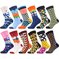 WeciBor Men's Cool Colorful Patterned Casual Combed Cotton Socks Packs