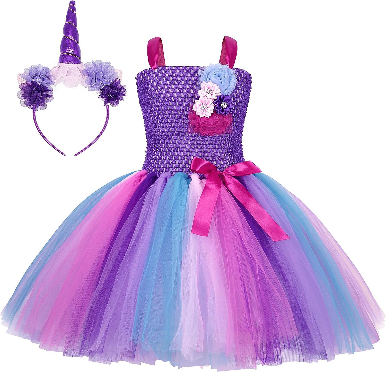 AmzBarley Vestito da Unicorno Ragazza Tutu Abito Bambina Compleanno Partito Regalo Vestiti Danza Festa Carnevale Halloween Sera Abiti