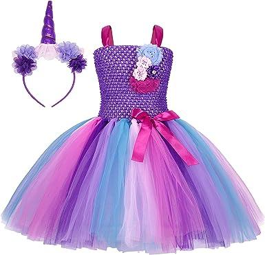 AmzBarley Unicornio Vestidos Cortos Fiesta de Princesa de Tul Tutu ...