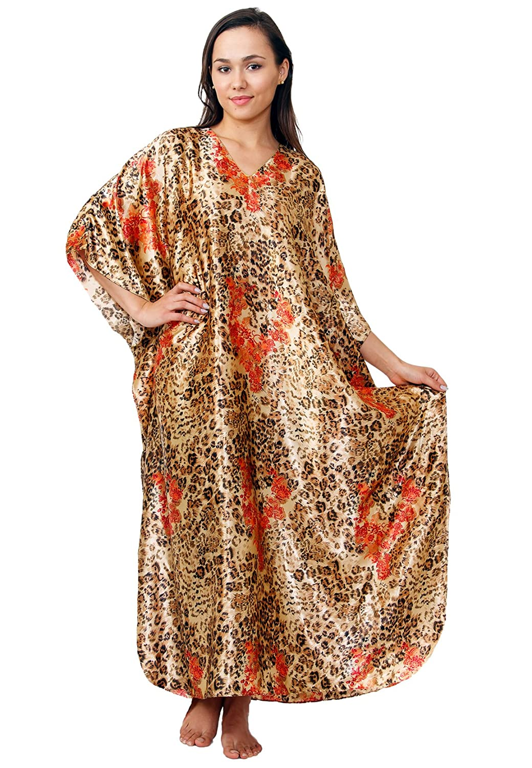 Up2date Fashion Satin Caftan, Exellent Cheetah Print, Plus Size, Style#Caf-45