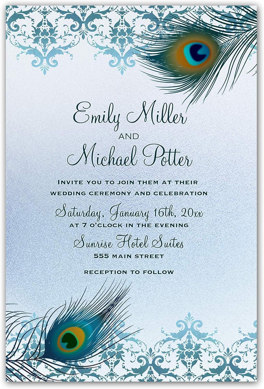 Amazon.com: 100 Wedding Invitations Peacock Tea Gold Personalized +  Envelopes: Kitchen & Dining