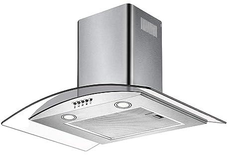 CIARRA Cappa Aspirante,60 cm,550 m³/h,Controllo Pulsanti,Filtri Grassi,  Luce LED,Vetro,Cappe Camino Cucina