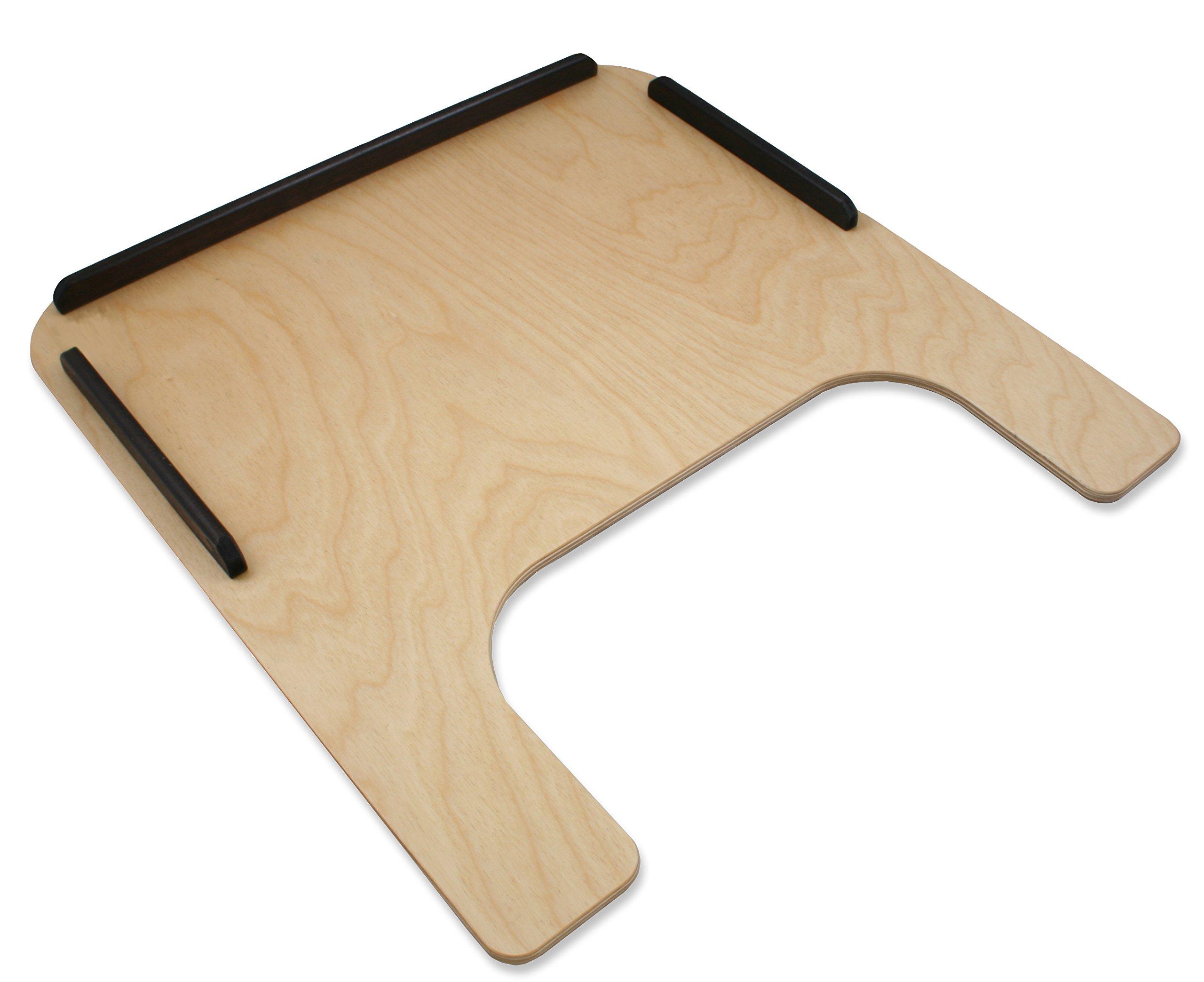Rehabilitation Advantage Birch Plywood Wheelchair Tray with Wood Rim with Velcro Straps, Junior, 2.95 Pound