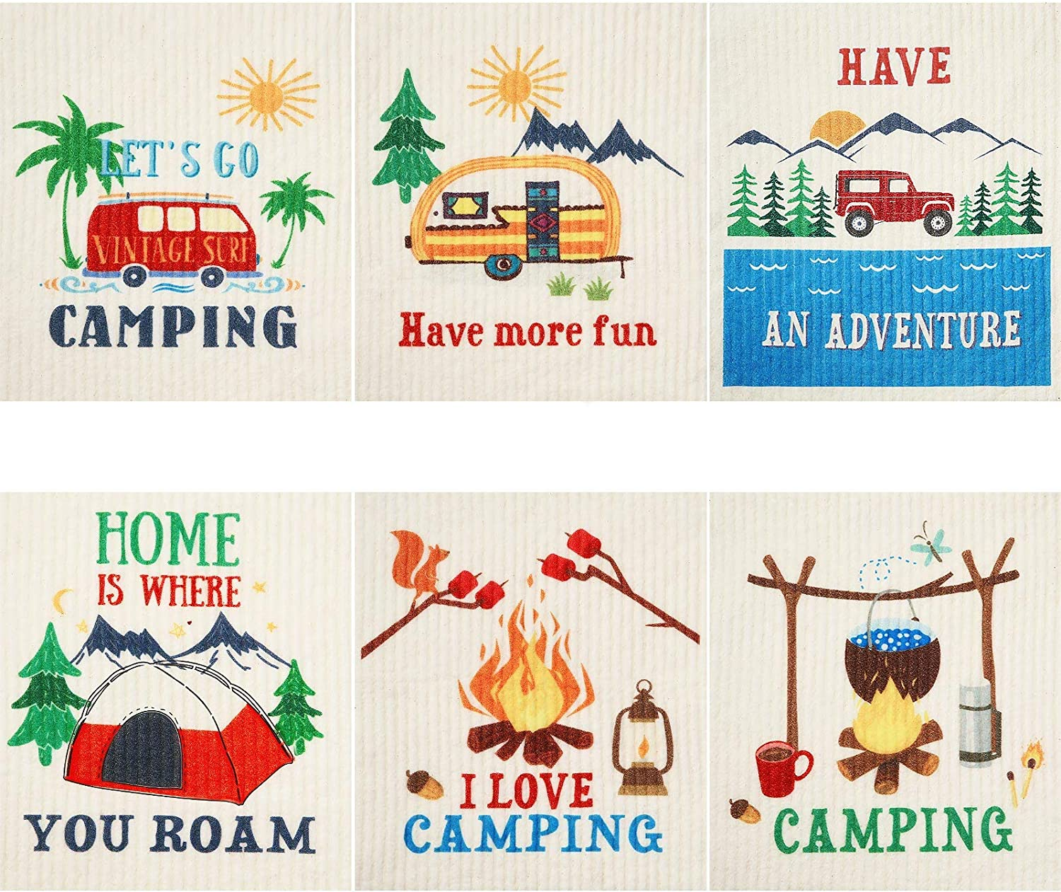 Limited price 6 Ultra-Cheap Deals Pieces Mixed Camping Swedish Picnic Cleaning Dishcloths Theme