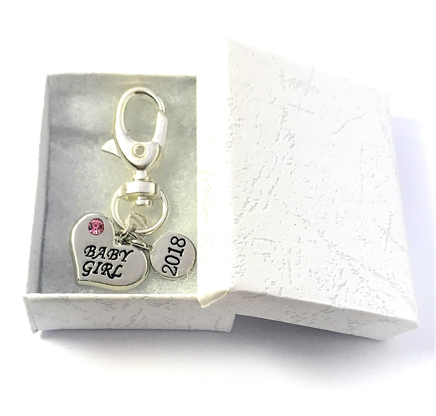 Heart Shape Baby Girl 2018 Keyring with Gift Box Handmade by Libby's Market Place Libby' s Market Place