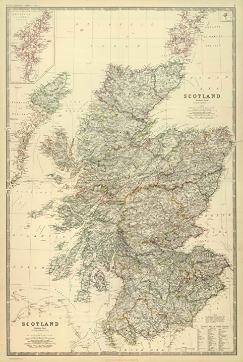 1879 world atlas composite of scotland by keith johnston frse keith