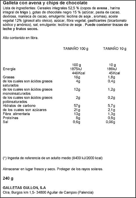Vitalday - Desayuno Avena Y Choco Gullón Paquete 240 g: Amazon.es: Alimentación y bebidas