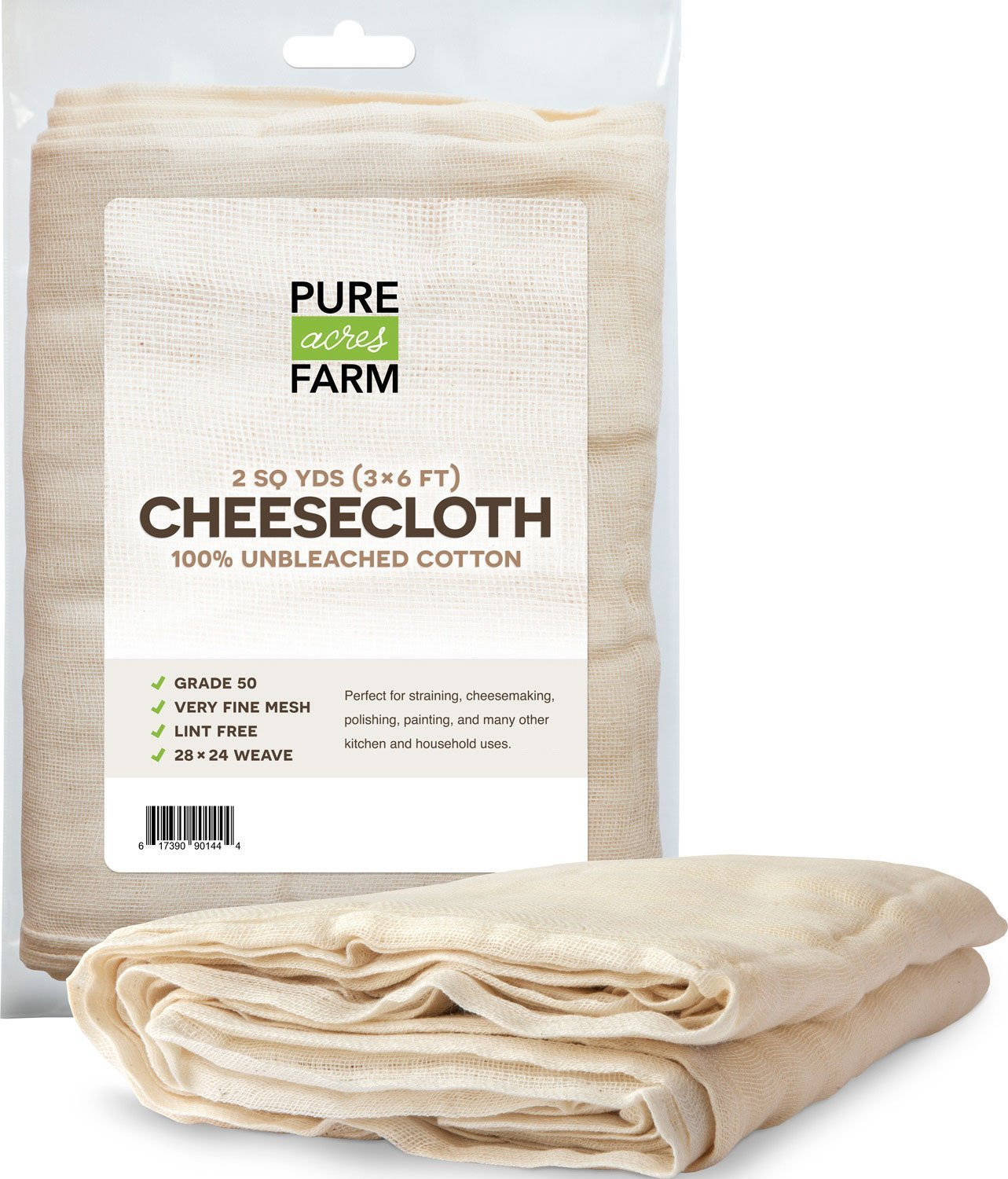 Pure Grade 50 100% Unbleached Cotton Cheesecloth Strain, 2 Yards (18 Sq Feet) Pure-Acres-Farm 2yd-cheesecloth