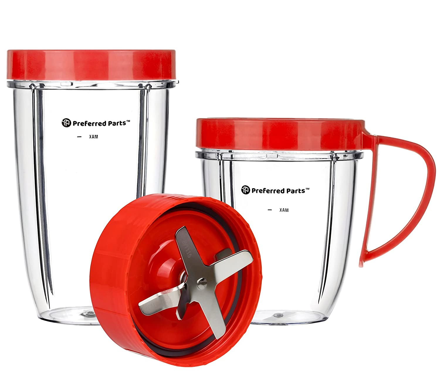 Cup and Blade 5 Pc Set for NutriBullet Replacement High Speed Blender Mixer System MT PP-NTB5PC