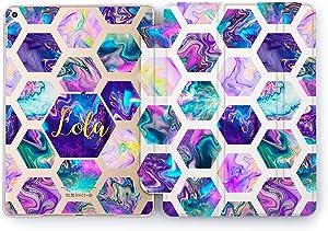 Wonder Wild Case Compatible with Apple iPad Iridescent Hexagon Pro 9.7 11 inch Mini 1 2 3 4 Air 2 10.5 12.9 11 10.2 5th 6th Gen Hard Personalized Cover Multicolored Geometrical Custom Monogram
