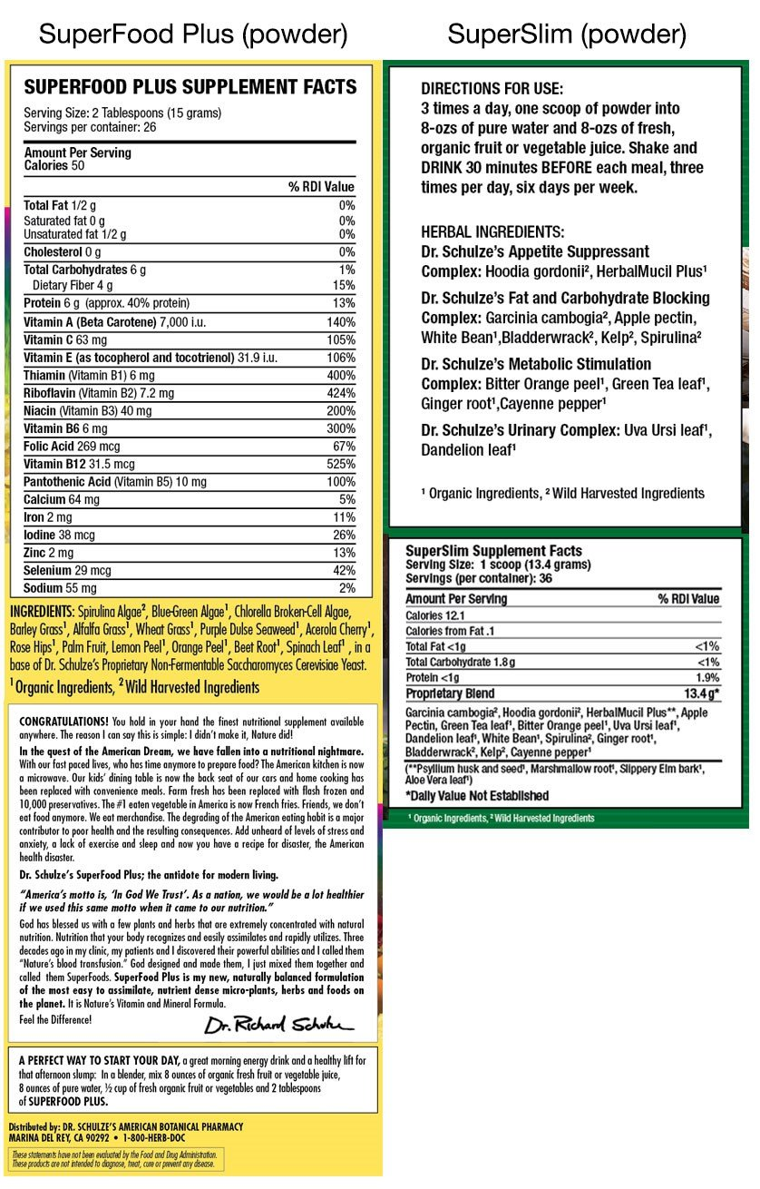 Dr. Schulze's | Superslim & SuperFood Plus Combo | Weight Loss Aid | Herbal Multivitamin Concentrate | Dietary Supplement | Organic Powder | Suppress Appetite & Increase Energy | Essential Minerals by Dr. Schulze's (Image #2)