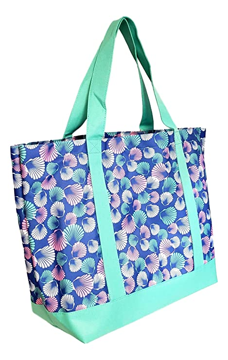 02a64fc90 Amazon.com: Custom Personalized Flamingo Stripe Print Heavy Duty Canvas Tote  Beach Bag (Seashell Print - No Embroidery): 101 Beach