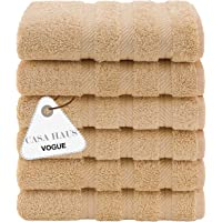 Casa Haus Vogue Premium kvalitet Air Twist bomull 600 GSM – 6 delar handduksset – beige