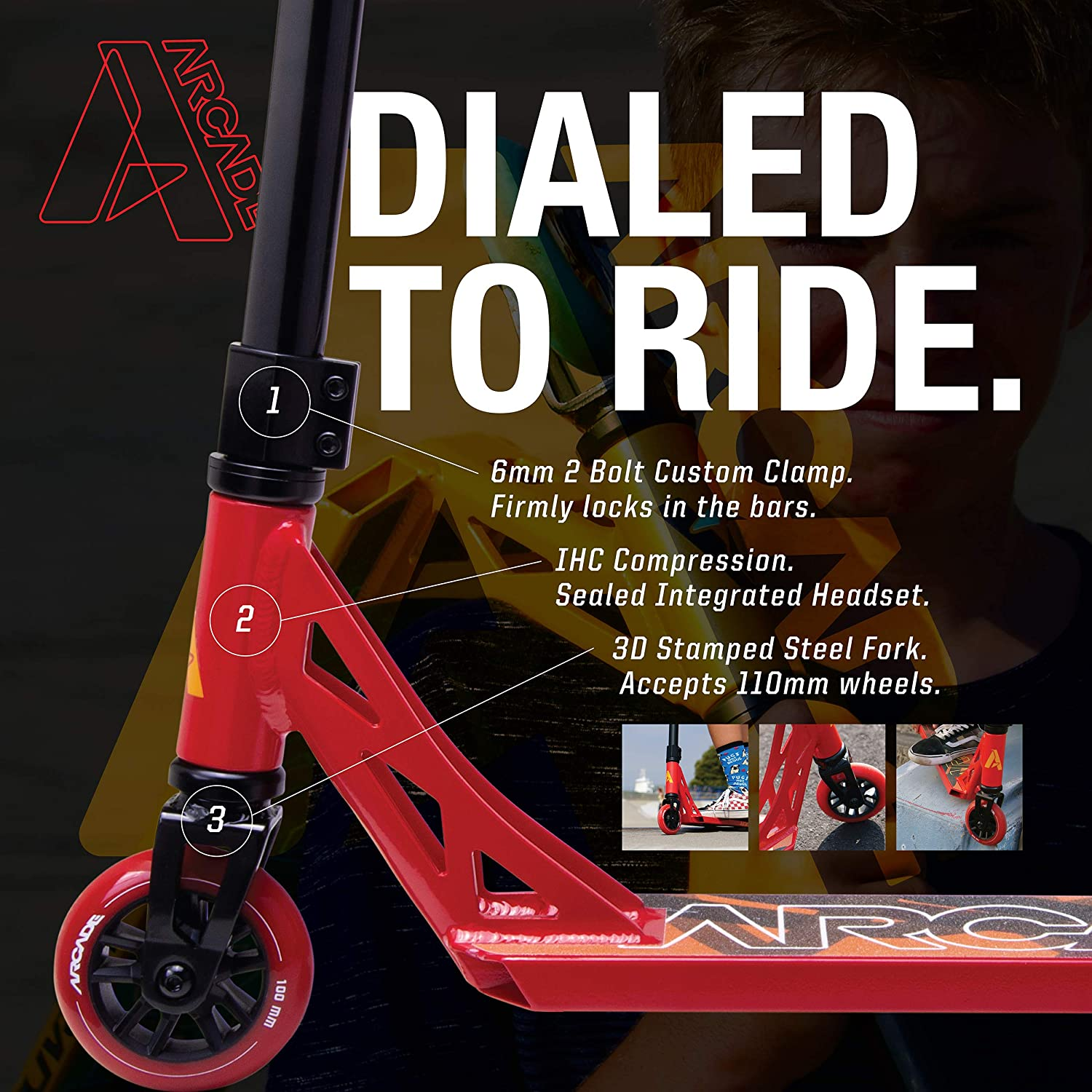 Stunt Scooter for Kids 8 Years and Up ARCADE Pro Scooters Perfect for Beginners Boys and Girls Best Trick Scooter for BMX Freestyle Tricks
