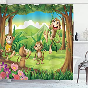 Ambesonne Tropical Shower Curtain, Digital Dot Featured Fun Monkey Face Portrait Little Geometrical Rounds Print, Cloth Fabric Bathroom Decor Set with Hooks, 75