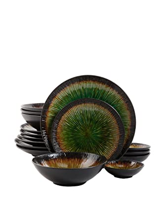 Gibson Elite Shangri-La Court 16-Piece Dinnerware Set, Jade