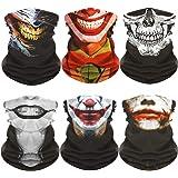 Clown Skull Neck Gaiter Face Mask Bandana Face Sleeve for Halloween (6 PCS)