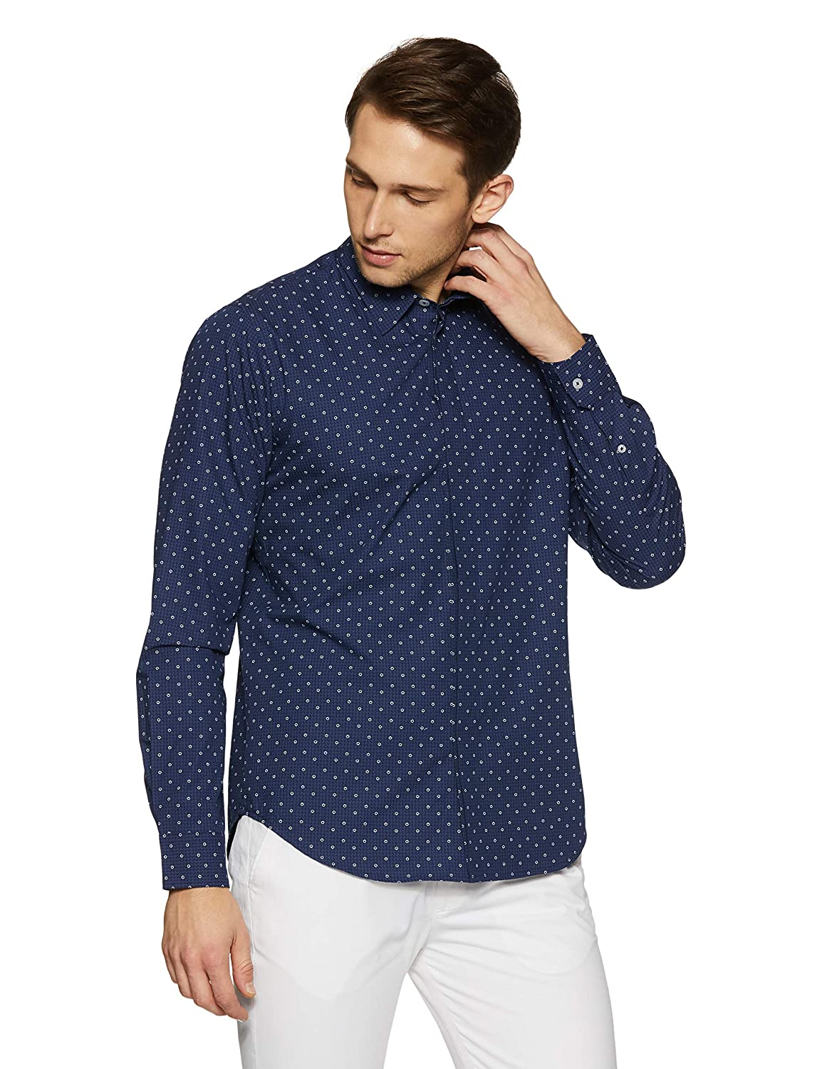 Casual Terrains Mens Tailored Slim-Fit Geometric Shirt with Hidden Placket
