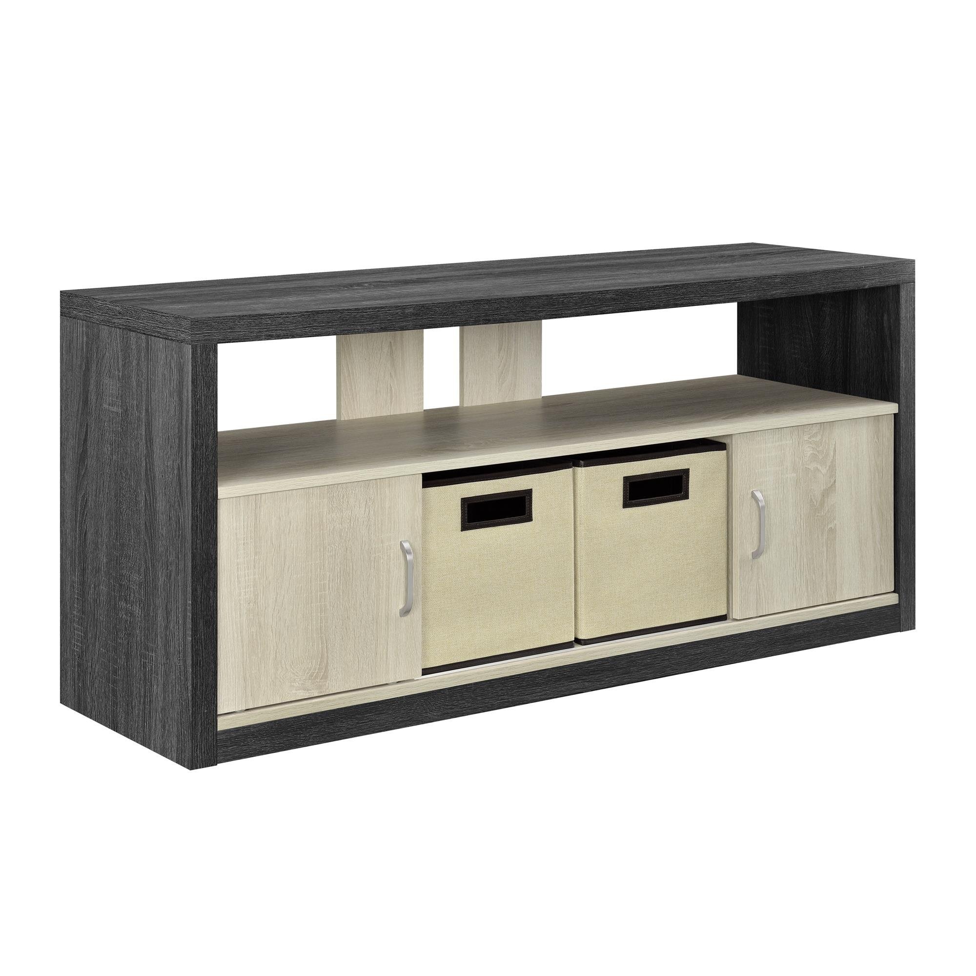 Ameriwood Home Winlen TV Stand for TVs up to 50'' with 2 Fabric Bins, Espresso