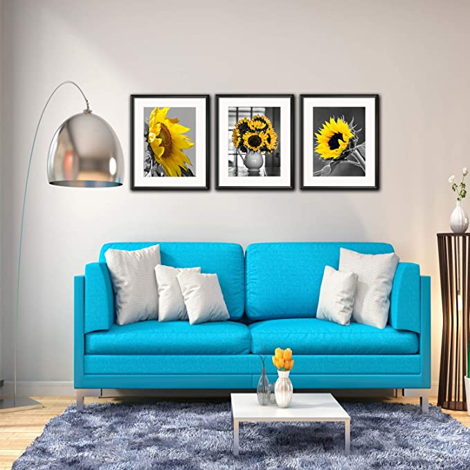 Amazon.com: Lienzo de girasol de color azul, rojo, cian ...