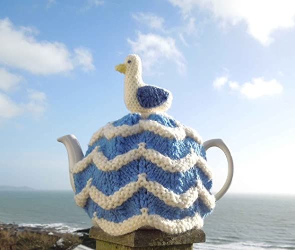 Seagull Knitted Tea Cosy Nautical Teapot Cover For Your 4 6 Cup