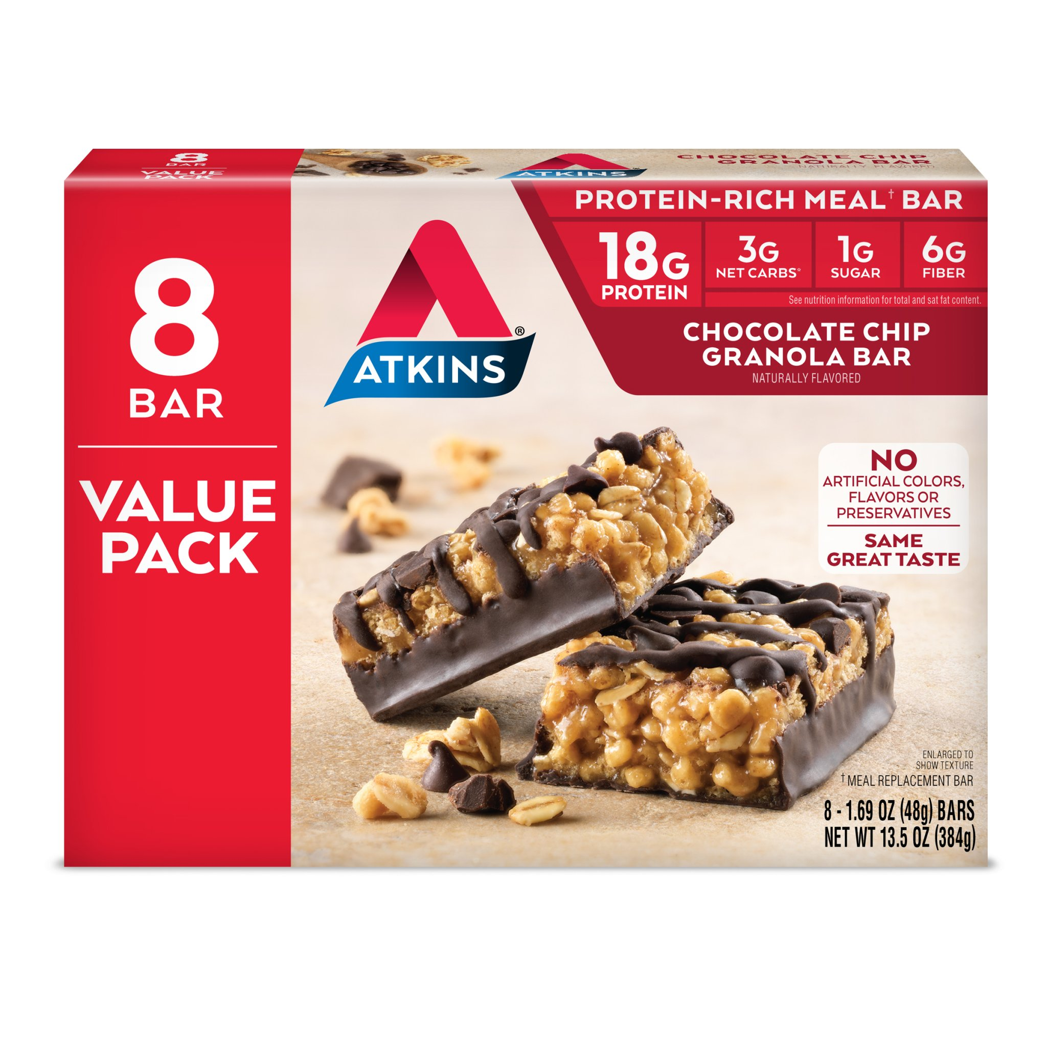 Atkins Protein Rich Meal Bar, Chocolate Chip Granola, 8 Count