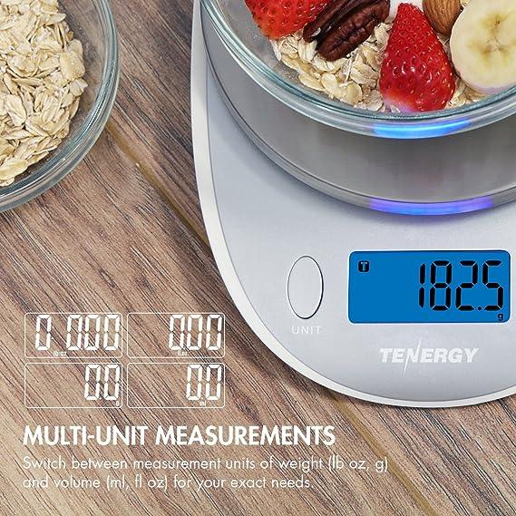 Tenergy alta precisión digital cocina escala, escala de cocina acero inoxidable con retroiluminación pantalla LCD y función de tara, ...