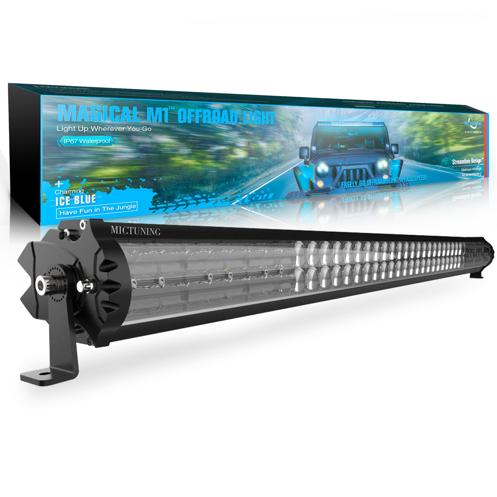 MICTUNING Magical M1 42 Inch Aerodynamic LED Light Bar with IceBlue Accent Light - Exclusive Streamline ArcMask Design 22680lm Off Road Driving Work Lamp, 2 Years Warranty by MICTUNING