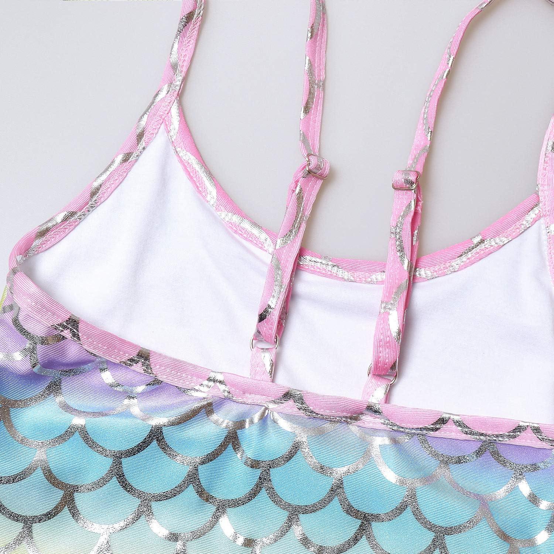 QPANCY Girls Swimsuits Rainbow Mermaid Bathing Suits Sparkle One Piece Swimwear