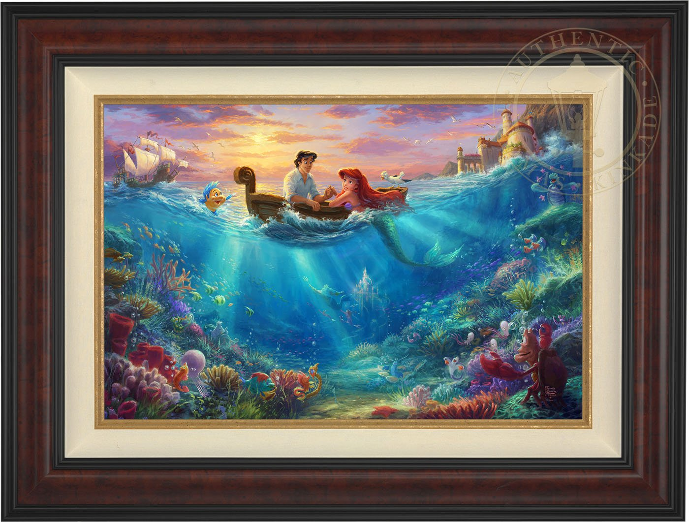 Thomas Kinkade -The Little Mermaid Falling in Love 18'' x 27'' Standard Number (S/N) Limited Edition Canvas (Burl Frame)