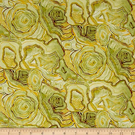 Willow BTY Junebee Ink /& Arrow Floral Agate Olive Green Yellow Brown