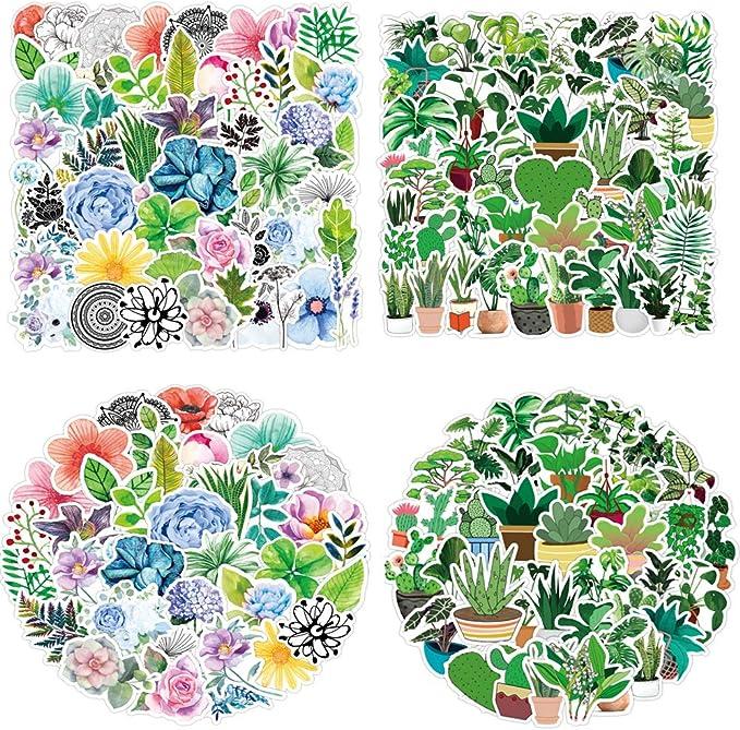 50 Pcs Cute Succulent Stickers Cactus and Succulent Plants Stickers for Laptop Water Bottles Scrapbook Bullet Journals Phone Cases Waterproof Vinyl Stickers Watercolor Cactus Planners Sticker Decals