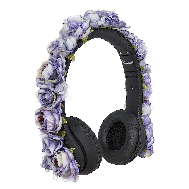 Rosé Rockers Fashion Headphones for Women: Bluetooth, Wireless, Foldable, Lightweight, Noise Cancelling Headphones (Violet)