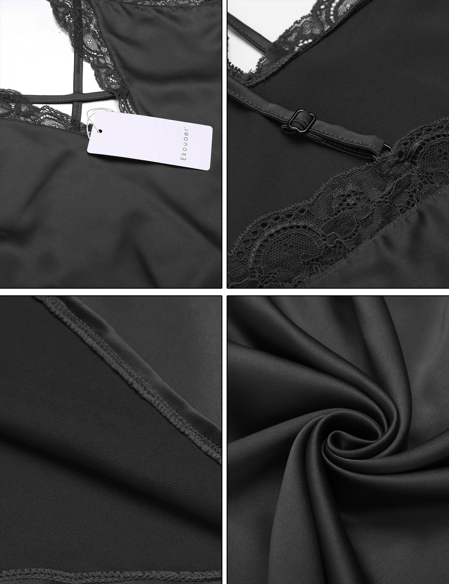 Ekouaer Women's Satin Halter Nightgown Plus Size 7 Colors
