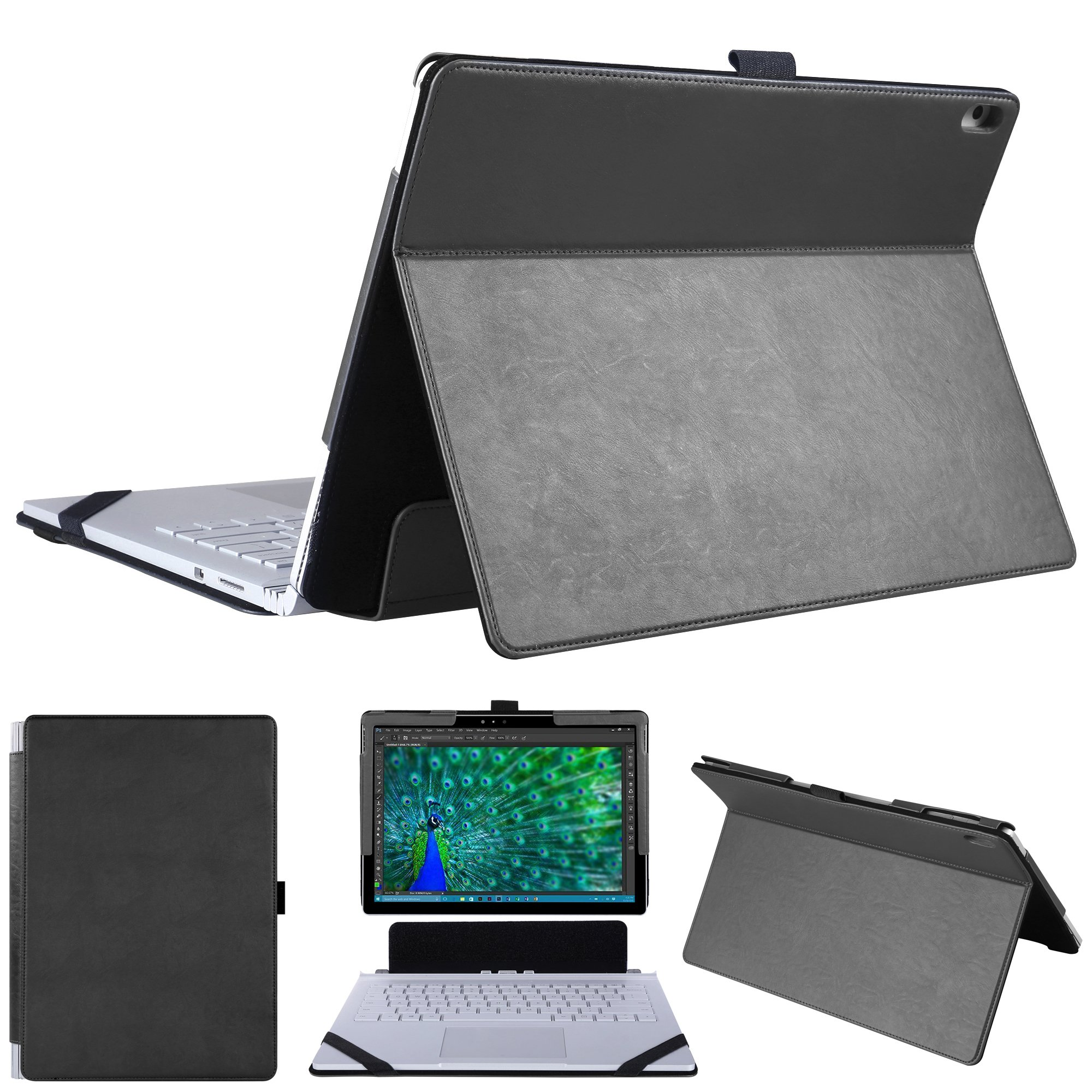 hongyixun Surface Book 13.5 Inch Case, 2 in 1 Kickstand Book Style Cover for Microsoft Surface Book 13.5 Inch Laptop Only-Black