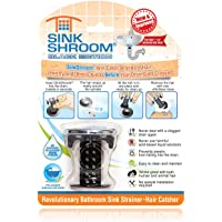SinkShroom Chrome Edition Revolutionary Bathroom Sink Drain Protector Hair Catcher, Strainer, Snare, Black