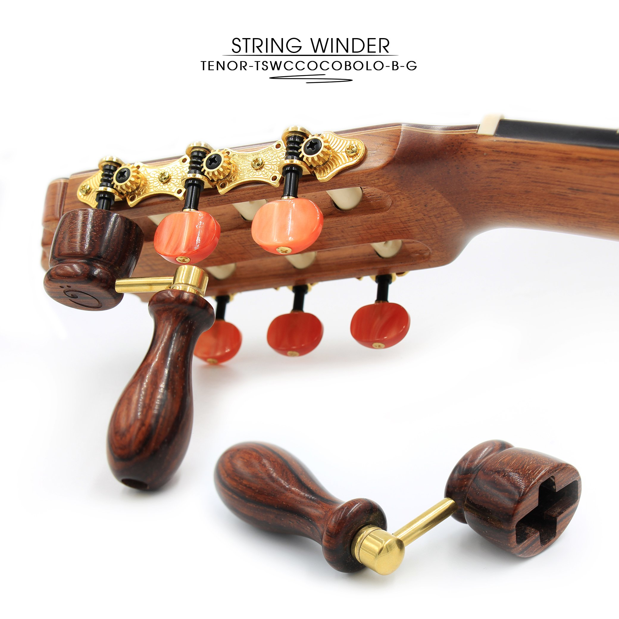 ''COCOBOLO'' Handcrafted Wooden Guitar String Winder by Tenor. Designed For Classical, Flamenco, Acoustic, Electric Guitars and Ukuleles. Made Of Solid Handpicked COCOBOLO Wood. Beautiful Vintage Look.