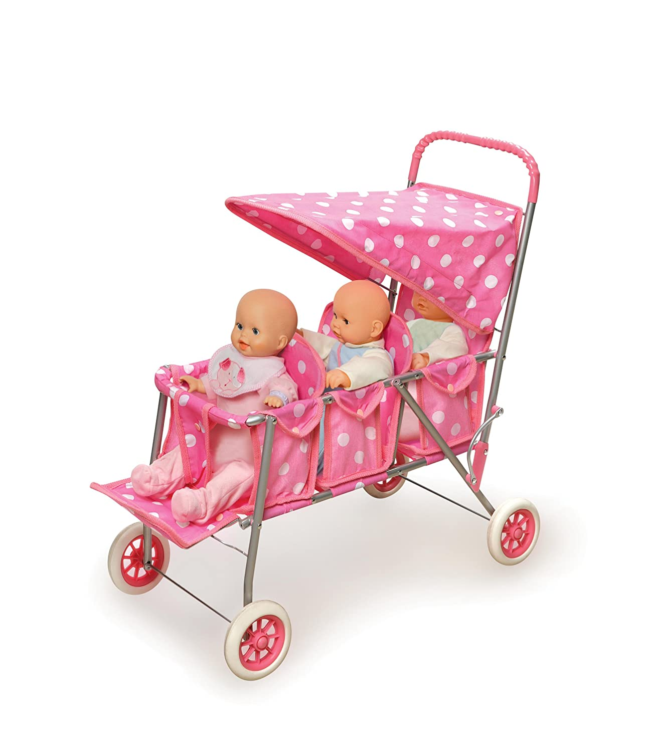 Amazon Badger Basket Triple Doll Stroller Pink Polka Dots fits American Girl dolls Toys & Games