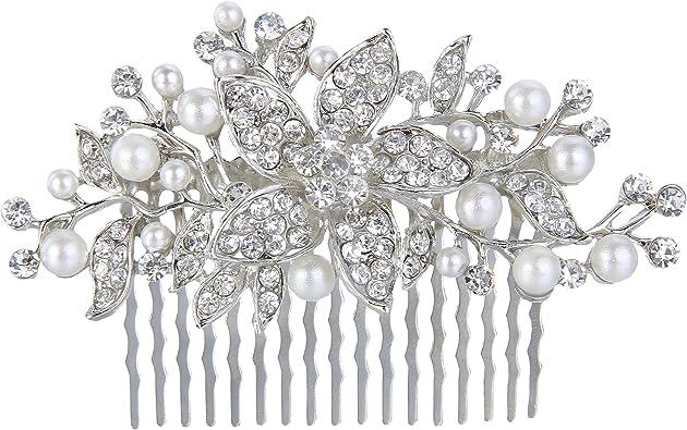 con motivo floreale Pettine da capelli con finte perle color avorio e cristalli ideale per matrimoni argentato Ever Faith/®