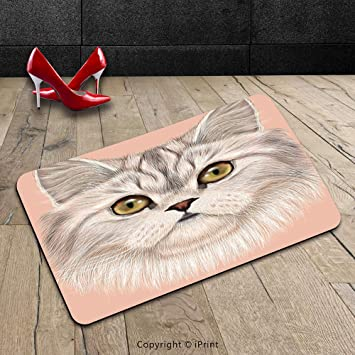 Custom lavable Felpudo (Cat Cute Kitty retrato gato mejor de los animales I love my