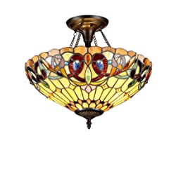 Chloe Lighting Chloe Lighting Serenity 2-Light Tiffany Style Victorian Semi Flush Ceiling Fixture with 16 in. Shade
