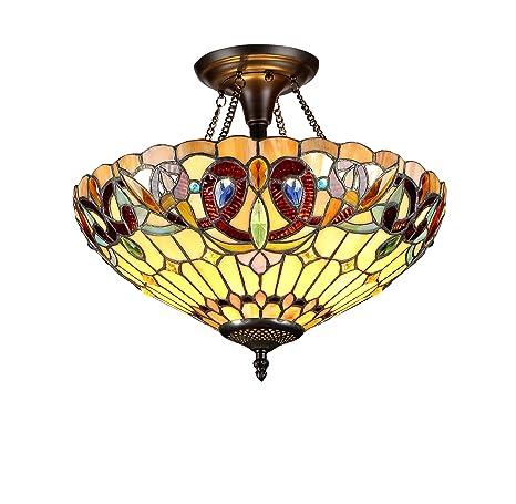 Chloe Lighting CH33353VR16-UF2 Semi-Flush Tiffany, 13 4 x 15 9 x 15 9