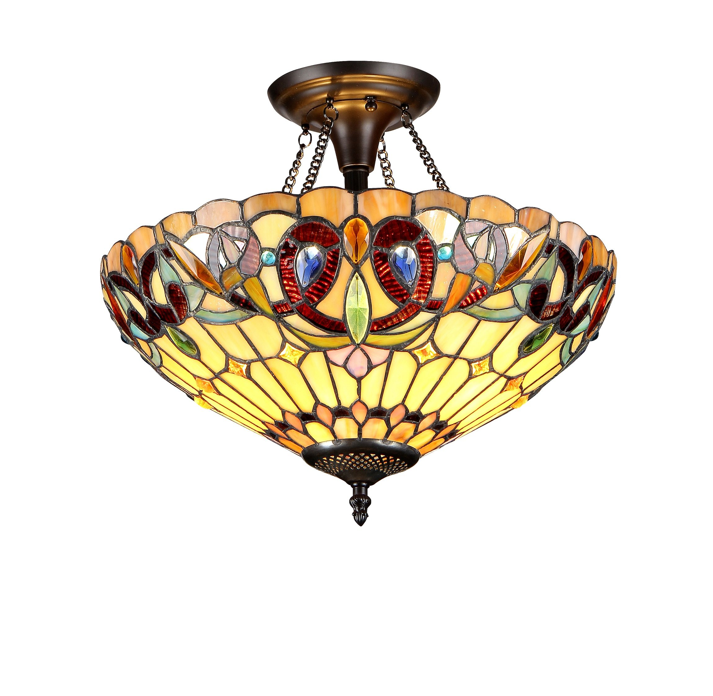 Chloe Lighting Chloe Lighting Serenity 2-Light Tiffany Style Victorian Semi Flush Ceiling Fixture with 16 in. Shade by Chloe Lighting