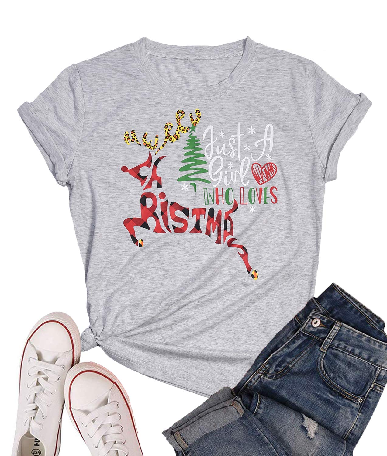 Eanklosco Merry Christmas T-Shirt Women's Casual Letter Tops Short Sleeve Shirts(Grey,2XL)