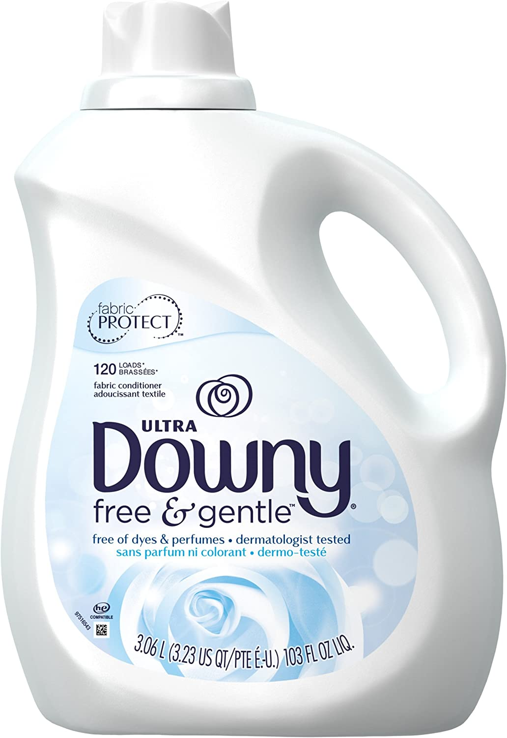 Amazon Com Downy Ultra Free Gentle Liquid Fabric Conditioner Fabric Softener 120 Loads 103 Fl Oz Packaging May Vary Health Personal Care