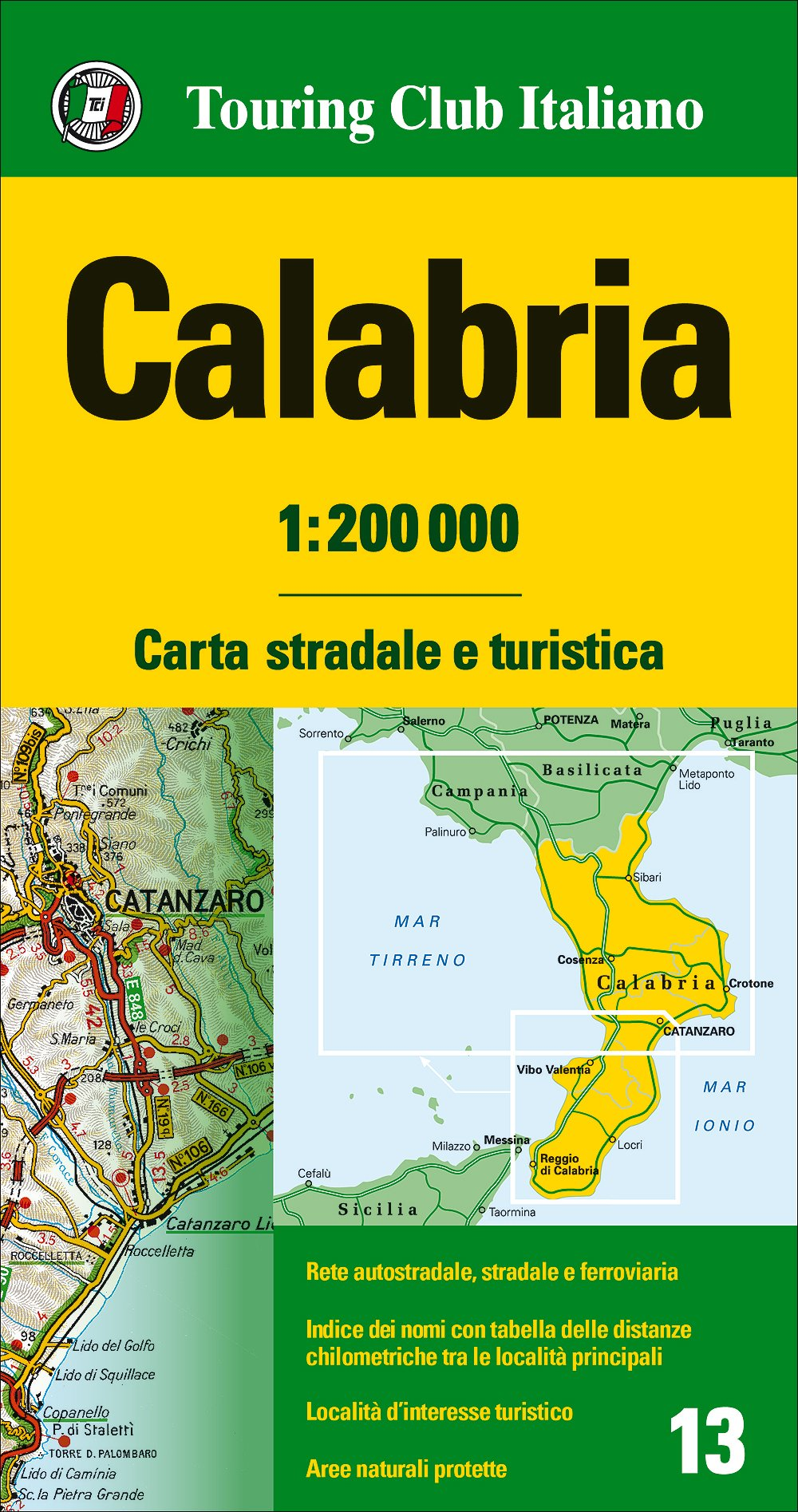 Map Of Italy For Tourists.Calabria Road And Tourist Map English Spanish French Italian